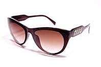 Солнцезащитные женские очки бабочка Miu Miu 11201 C2 реплика Коричневые с градиентом
