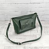 Сумка front pocket зеленая из натуральной кожи kapri, фото 2