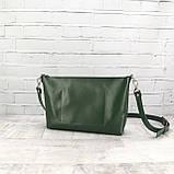 Сумка front pocket зеленая из натуральной кожи kapri, фото 4