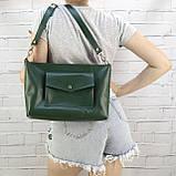 Сумка front pocket зеленая из натуральной кожи kapri, фото 7