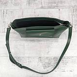 Сумка front pocket зеленая из натуральной кожи kapri, фото 9
