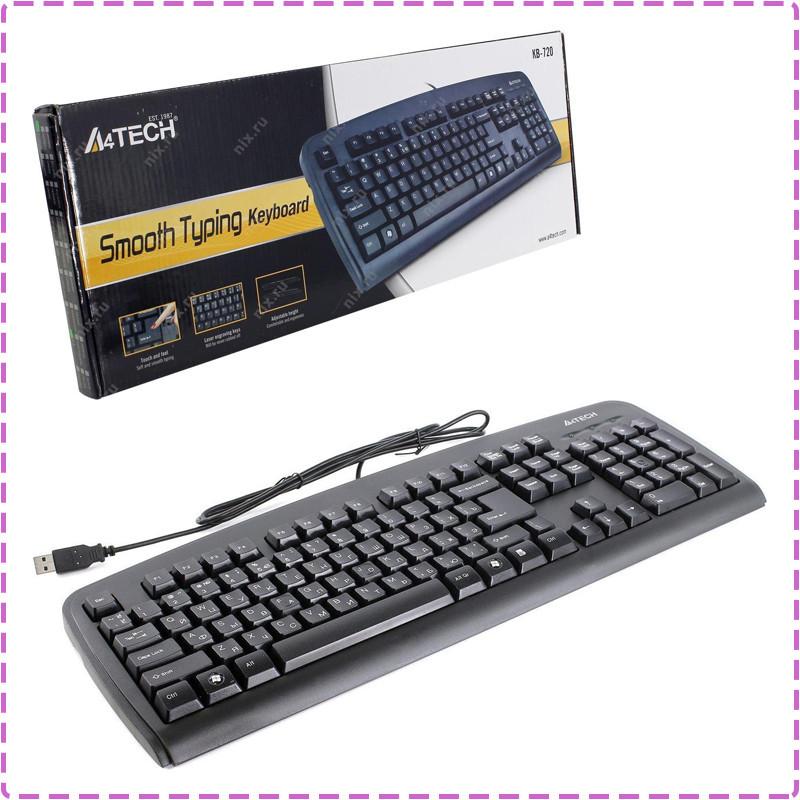 Клавиатура A4tech KB-720 USB Черная 107 key, w/Ukr. keys, ergonomic