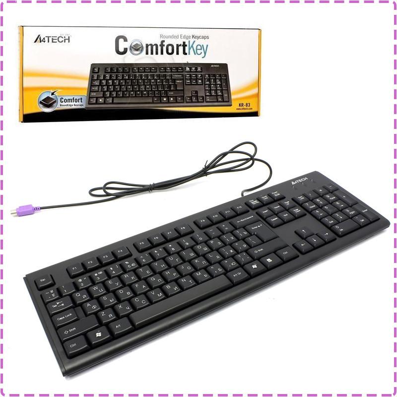 Клавиатура A4tech KR-83 PS/2 X-slim Черная 104клав, Большой Enter