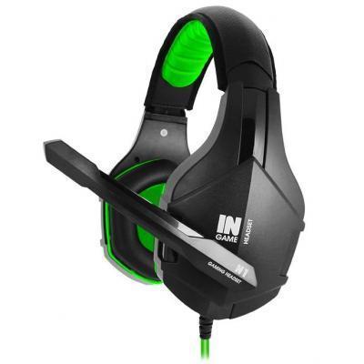 Игровые наушники с микрофоном Gemix N1 Gaming Black/Green, игровая гарнитура, кабель 1.2 м
