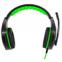 Игровые наушники с микрофоном Gemix N1 Gaming Black/Green, игровая гарнитура, кабель 1.2 м, фото 2