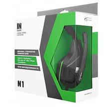 Игровые наушники с микрофоном Gemix N1 Gaming Black/Green, игровая гарнитура, кабель 1.2 м, фото 3