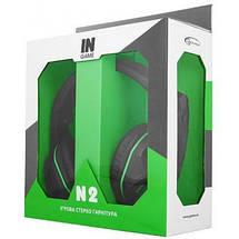 Игровые наушники с микрофоном Gemix N2 LED Gaming Black/Green, игровая гарнитура, кабель 1.2 м, фото 3