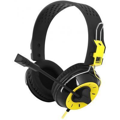 Игровые наушники с микрофоном Gemix N4 Gaming Black/Yellow, игровая гарнитура, кабель 1.2 м