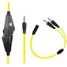 Игровые наушники с микрофоном Gemix N4 Gaming Black/Yellow, игровая гарнитура, кабель 1.2 м, фото 2