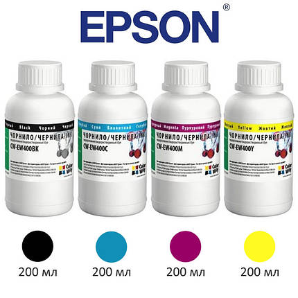 Комплект чернил ColorWay Epson T26/C91, 4x200 мл (CW-EW400SET02), краска для принтера эпсон, фото 2