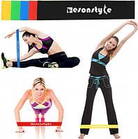 Резинка для фитнеса и спорта (лента эспандер) эластичная набор 5 штук +ЧЕХОЛ (живые фото)
