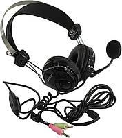 Наушники с микрофоном A4Tech HS-7P Black, кабель 2 м, гарнитура для компьютера и ноутбука