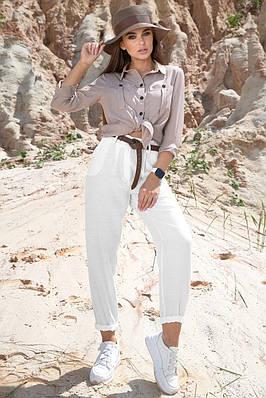 Білі штани бавовняні літні жіночі модні