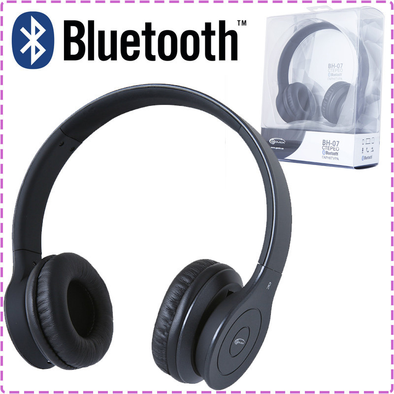 Беспроводные наушники Gemix BH-07 Black matt, Bluetooth блютуз гарнитура с микрофоном