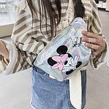 """Женская детская голографическая блестящая бананка """"Микки Маус """" серая белая серебряная, фото 4"""