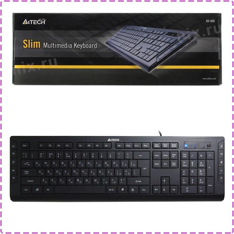 Клавиатура A4tech KD-600, черная, клавиатура USB X-Slim, мультимедийная