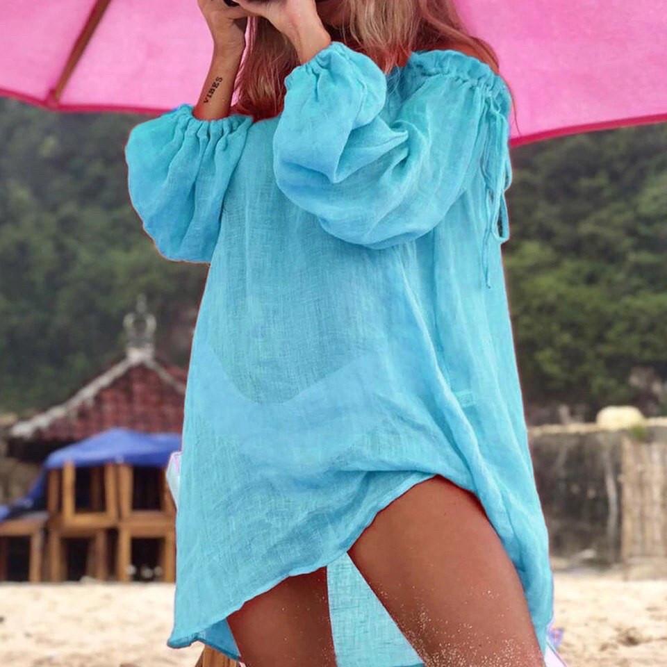 Пляжное платье - туника голубая с длинными рукавами
