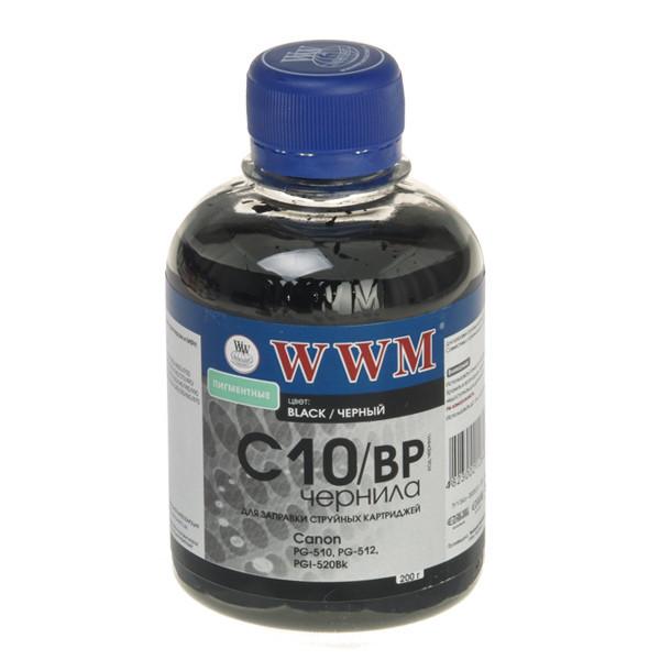 Чернила WWM Canon PG-510/512/440, PGI-425Bk/520Bk, Black Pigment, 200 г (C10/BP), краска для принтера