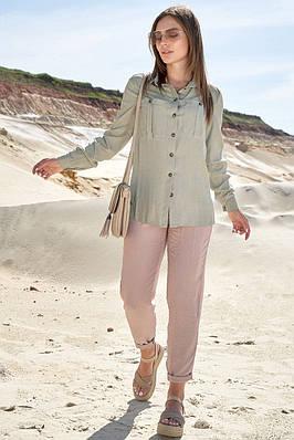 Жіноча літнє сорочка з довгими рукавами оливкова
