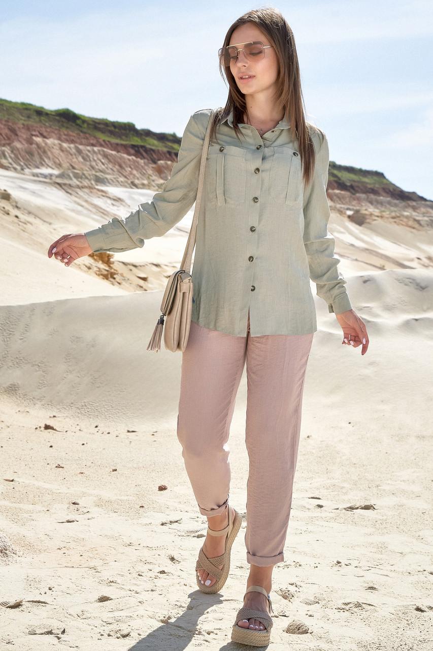 Женская летняя рубашка с длинными рукавами оливковая