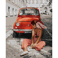 """Акриловая картина по номерам на холсте девушка """"Лето в Монако"""" 40х50, 4 уровень сложности"""