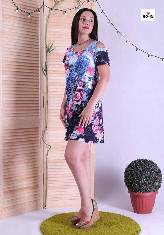 Платье женское летнее с открытыми плечами с цветами 44-56р.