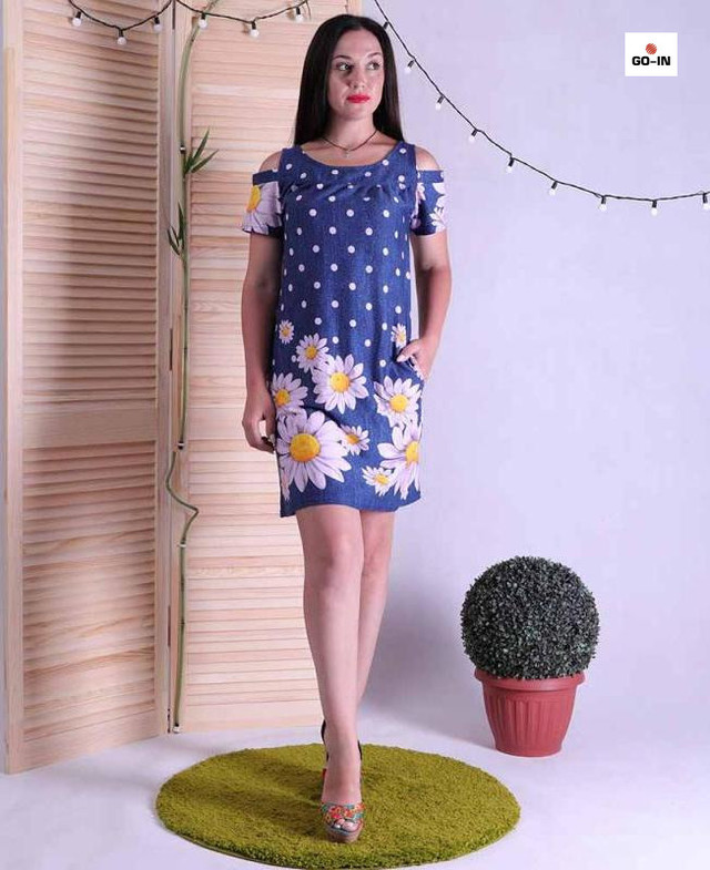 Платье женское летнее с открытыми плечами с цветами