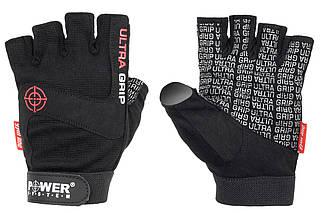 Рукавички для фітнесу і важкої атлетики чоловічі Power System Ultra Grip PS-2400, чорний