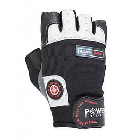 Перчаткибез пальців спортивні чоловічі для фітнесу Easy Grip Power System PS-2670, чорний/білий