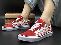 Кеды женские красные в клеточку стильные Vans Old Skool x Supreme Ванс олд скул х Суприм 40