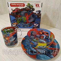 """Детский набор стеклянной посуды """"Вспыш и чудо-машинки"""""""