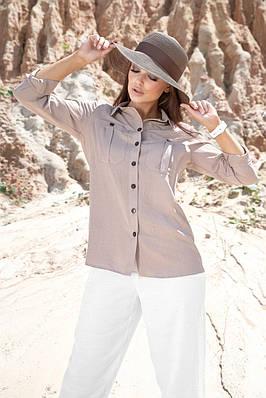 Женская летняя рубашка хлопковая кофейная