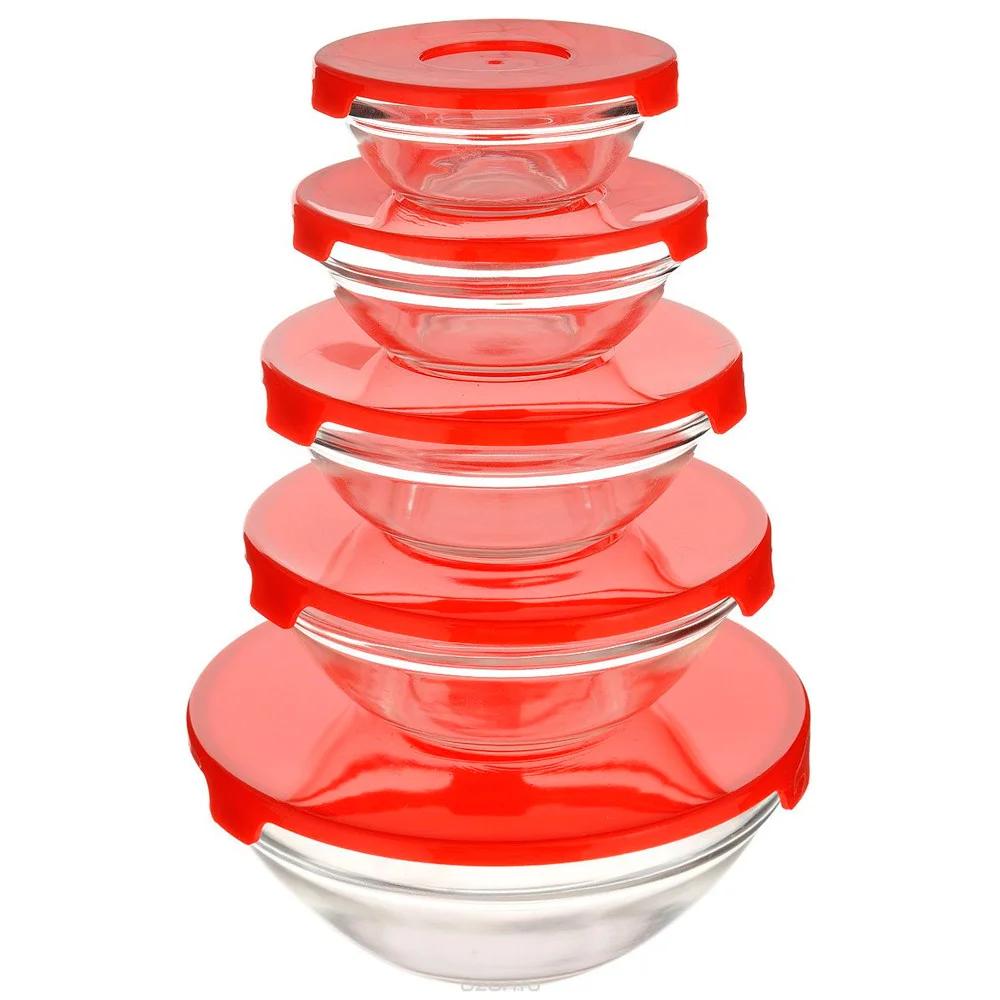 Набор кухонных пищевых стеклянных судочков с крышками разного диаметра 5 шт. Сooking bowl