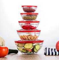 Набор кухонных пищевых стеклянных судочков с крышками разного диаметра 5 шт. Сooking bowl, фото 2