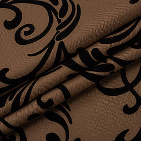 Ткань для обивки дивана с классическим узором Нэо флок цвета кофе с молоком