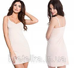Комбинация под платье бесшовная бежевая гладкая комбинация под одежду корректирующее белье Julimex