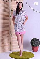 Халат літній жіночий на блискавці з капюшоном і вушками короткий 42-48р.