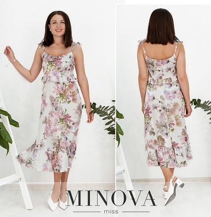 Элегантное и романтичное платье на тонких бретелях цвет белый Размеры: 42.44.46.48., фото 2