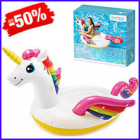 Детский надувной плотик Intex 57561 Единорог для плавания от 3 лет, пляжный надувной круг-матрас 201х140х97см