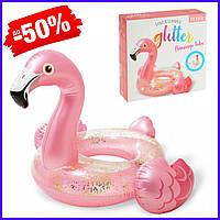 Надувной водный круг Intex 56251 Фламинго для плавания, летний спасательный круг розовый фламинго 119х97 см