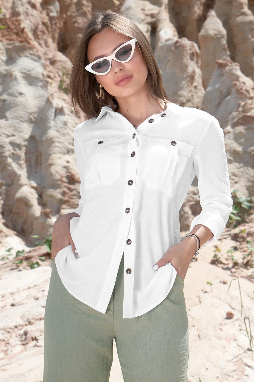 Женская летняя белая хлопковая рубашка с длинными рукавами