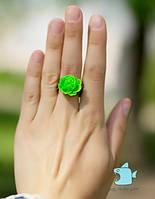 "Кольцо ""Зеленая роза"". Ручная работа"