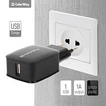 Зарядний пристрій ColorWay, Black, USB, 1A, (CW-CHS001-BK), зарядка для смартфона, телефону, фото 3