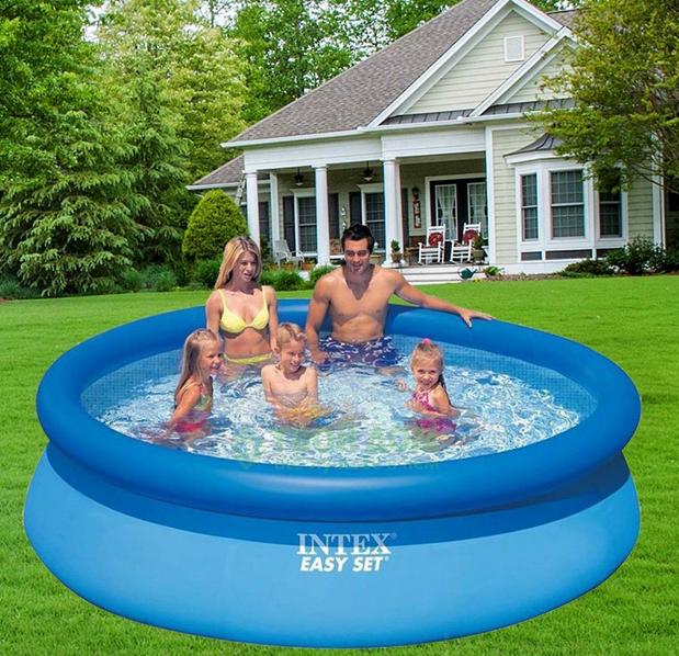 Бассейн надувной для дачи.Бассейн наливной надувной.Надувной семейный бассейн.