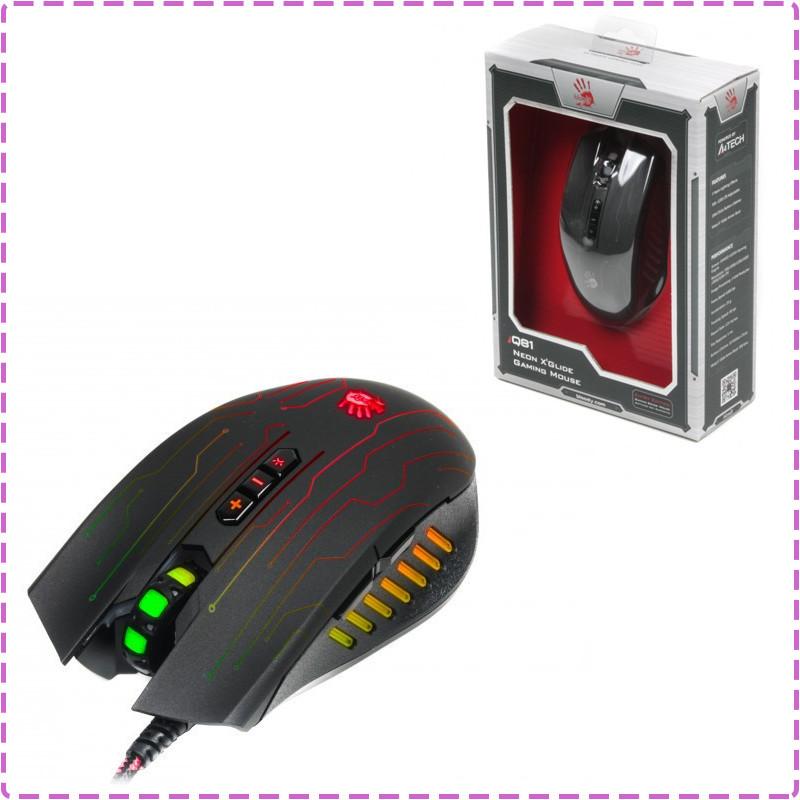 Игровая мышка A4Tech Q81 USB Circuit Bloody Black геймерская мышь а4теч блади блуди для компьютера, пк, ноутбука