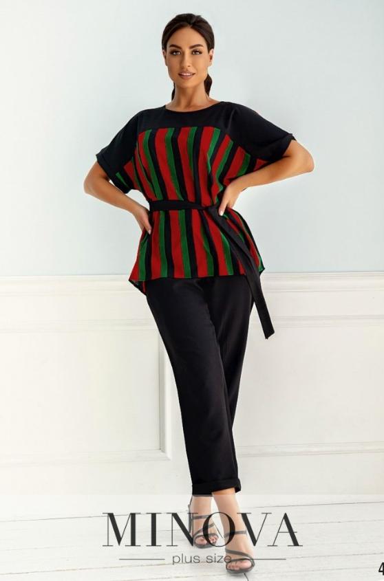 Привлекательный костюм-двойка с блузой и брюкам черный Размеры: 48-50, 52-54, 56-58, 60-62