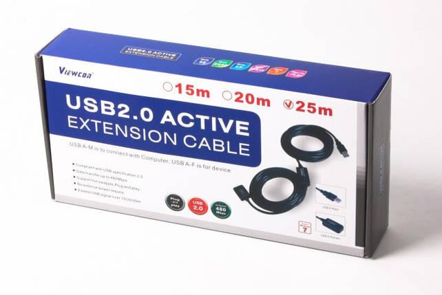 Активный USB удлинитель 25 метров Viewcon VV043 черный (VV043-25M), фото 2