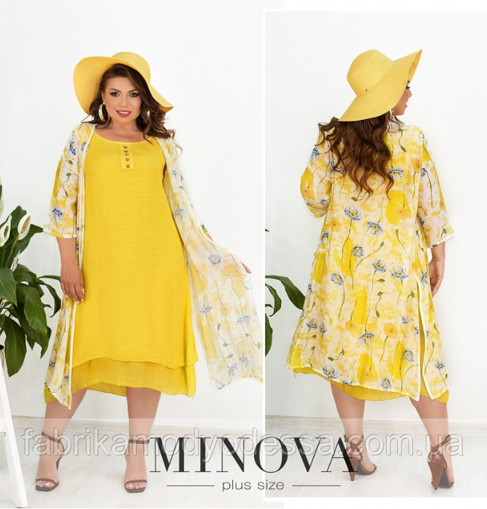 Комплект платье и накидка лен-жатка Minova Размеры: 50.52.54