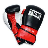 Перчатки боксерские THOR ULTIMATE 10oz /Кожа /бело-черно-красные, фото 1