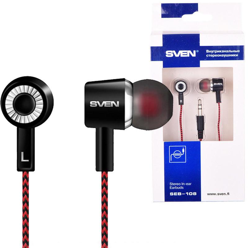 Наушники Sven SEB-108 черно-красные, вакуумные, проводные для телефона, навушники свен